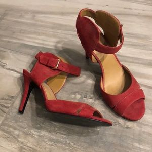 Nine West Cranberry Red Suede 3 Inch Heels, 8